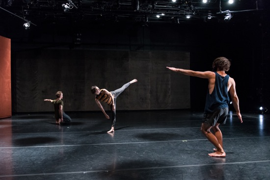 (L to R): Justin Morrison, Emma Judkins, and Nicholas Bruder in Custodians of Beauty. Photo: Ian Douglas