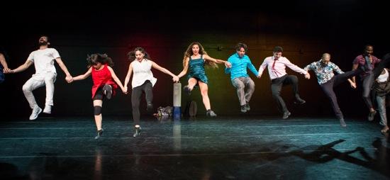 The transformed dabke in Badke. Visible L to R: Maali Maali, Salma Ataya, Aseel Qupti, Hiba Harhash, Fadi Zmorrod, Ameer Sabra, Ayman Safiah, and Mohammed Samanhah. Photo: Yi-Chun Wu