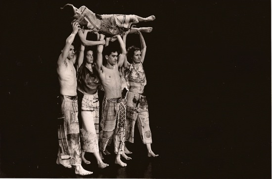 """The original cast of Set and Reset """"walks"""" Diane Madden along a virtual wall. (L to R): Stephen Petronio, Vicky Shick, Randy Warshaw, and Trisha Brown. Photo: John Waite"""