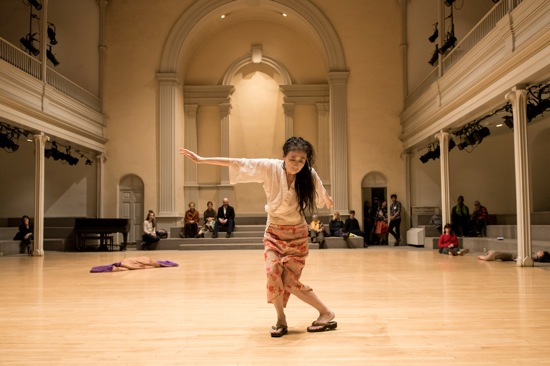 Eiko performing in Precarious II: Guest Solos in PLATFORM 2016: A Body in Places at St. Mark's Church. Photo: Ian Douglas