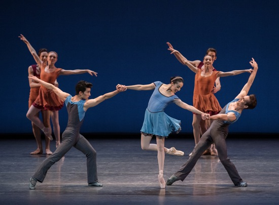 Alexei Ratmansky's Concerto DSCH. (L to R, foreground): Anthony Huxley, Brittany Pollack, and Gonzalo Garcia. Photo: Paul Kolnik