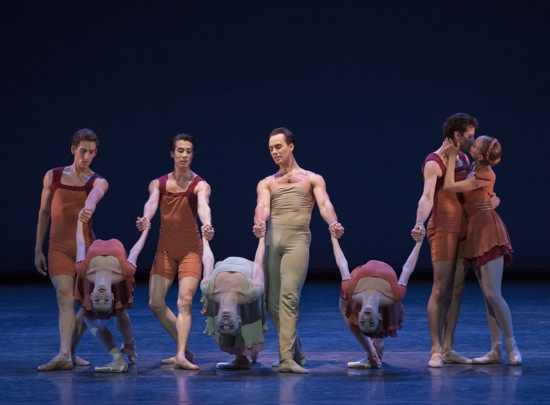 (L to R): New York City Ballet dancers in Alexei Ratmansky's Concerto DSCH. (L to R): Cameron Dieck, Emilie Gerrity, Daniel Applebaum, Sara Mearns, Tyler Angle, Gretchen Smith, Andrew Scordato, and Lydia Wellington. Photo: Paul Kolnik