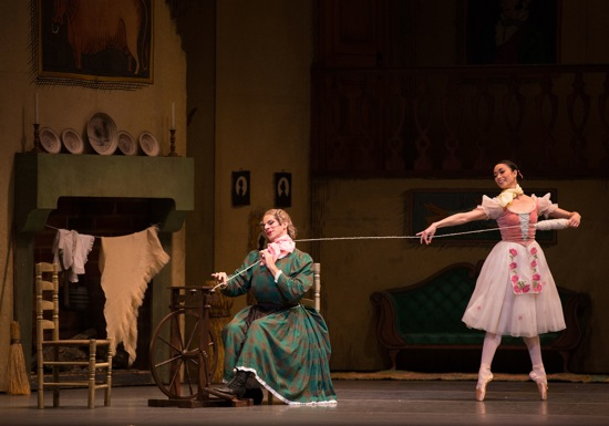 Lise (Stella Abrera) helps her mother (Marcelo Gomes) with the spinning. Photo: Rosalie O'Connor
