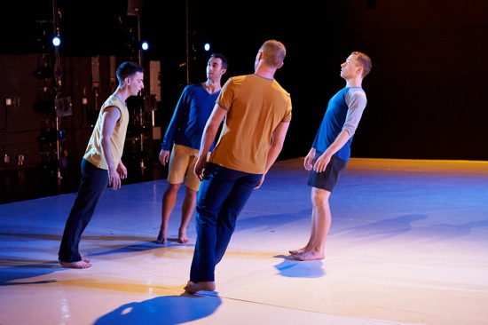 Megan Williams' Quadrivium for Ten Hairy Legs. (L to R): Robert Mark Burke, William Tomaskovic, Alex Biegelson, and Derek Crescenti. Photo: Rachel Neville