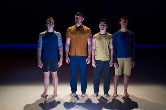 Here's looking at us. (L to R): Derek Crescenti, Alex Biegelson, Robert Mark Burke, and William Tomaskovic in Megan Williams' Quadrivium. Photo: Rachel Neville