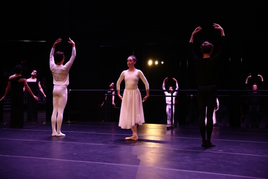 Jack Ferver's I Want You To Want Me. (center, L to R): Barton Cowperthwaite, Carling Talcott-Streenstra, and Reid Bartelme; far left: Jack Ferver and his reflections. Photo: Paula Court