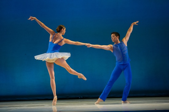 Laura Tisserand and William Lin-Yee in the last movement of Kiyon Gaines' Sum Stravinsky for Pacific Northwest Ballet. Photo: Christopher Duggan