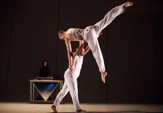 Two personas of Lance B. Griggs: Cain Coleman, Jr. and (aloft) Talli Jackson. Photo: Yi-Chun Wu
