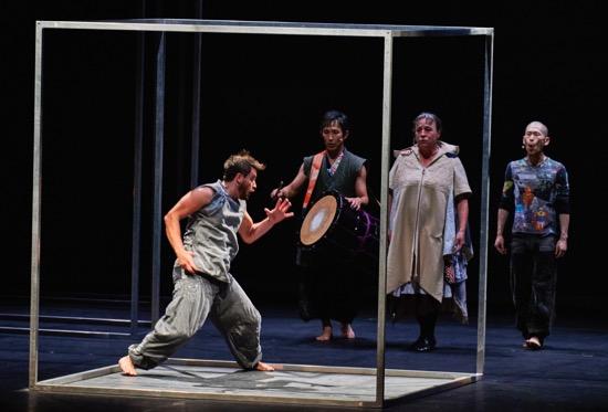 """Imprisoned: Helder Seabra. At back (L to R): Kazunari Abe, Christine Leboutte, and Kazutomi """"Tsuki"""" Kozuki. Photo: Robert Altman"""