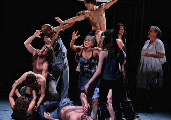"Members of Eastman in Babel (words) by Sidi Larbi Cherkaoui and Damien Jalet: Visible clockwise from center bottom: Damien Fournier (supine), Paea Leach, Aimilios Arapoglou, Francis Ducharne, Sandra Delgado Porcel, Sang-Hun Lee (aloft), Ulrika Kinn Svensson (back to camera), Navala ""Niku"" Chaudhari, Christine Leboutte. Photo: Robert Altman"