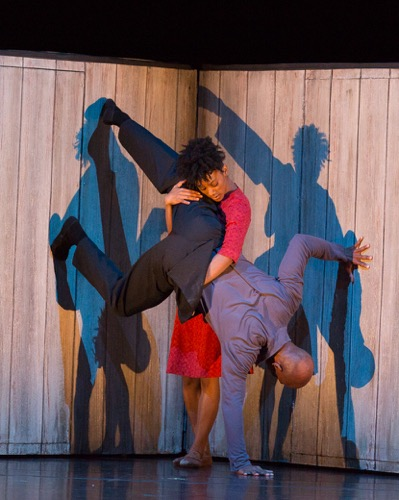 Rachel McClaren, Glenn Allen Sims, and their shadows in Johan Inger's Walking Mad. Photo: Yi-Chun Wu