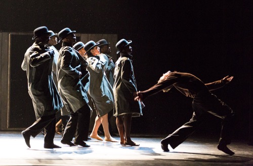 Alvin Ailey Dance Theater in Johan Inger's Walking Mad. At right: Michael Francis McBride. Photo: Yi-Chun Wu