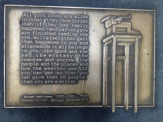 One of the 96 plaques of Library Walk designed by Greenwich Village sculptor Gregg Lefevre.