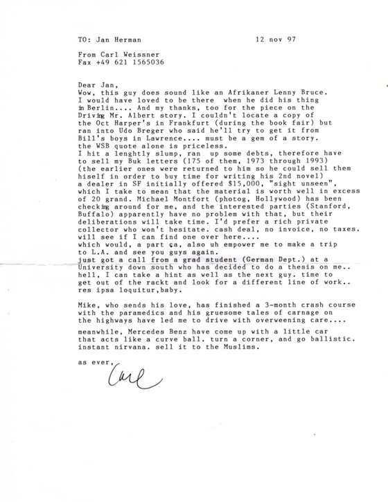 Carl Weissner letter to JH [Nov. 12, 1997]