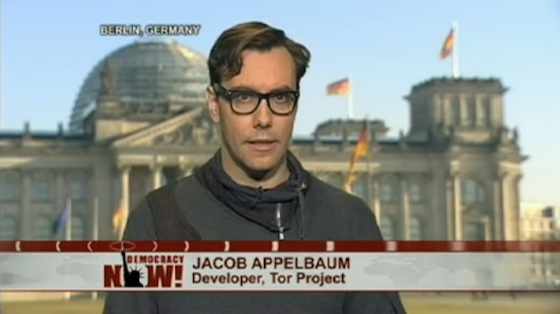 Jacob Appelbaum speaking on 'Democracy Now!' Click for the video and go to 50:37 on the track.
