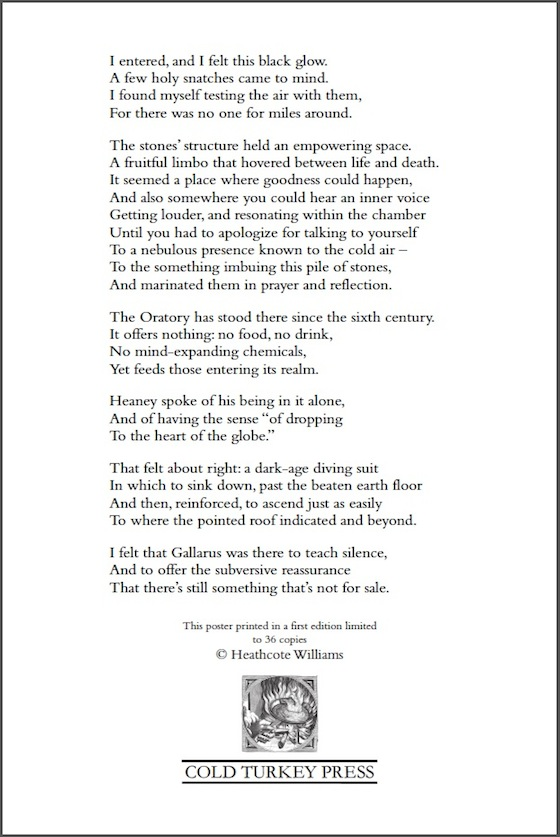 'HEANEY AT GALLARUS' © by Heathcote Williams [Cold Turkey Press, 2013]