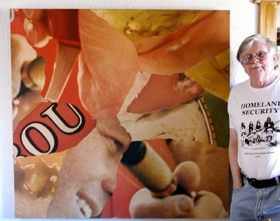 Norman O. Mustill and 'OU,' one of his large collages from the 1960s. [Photo: JH, 2007]