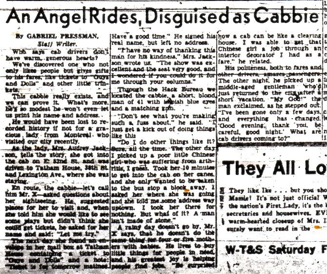 'An Angel Rides, Disguised as Cabbie,' by Gabriel Pressman [New York World Telegram & Sun, ca.1952-53]