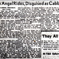 'An Angel Rides Disguised as Cabbie' by Gabriel Pressman [New York World Telegram & Sun, ca. 1952 -'53]