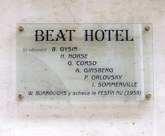 Plaque at Beat Hotel, 9 rue Git-le-Coeur, Paris [Photo: JH]