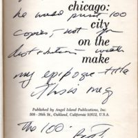 'Chicago: City on the Make' inscribed by Nelson Algren