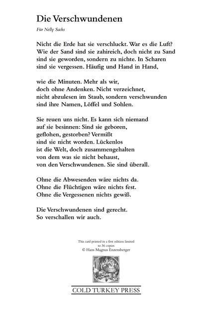 'Die Verschwundenen' © by Hans Magnus Enzensberger