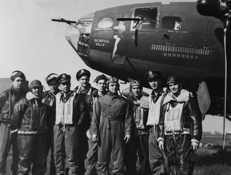 "The crew of the ""Memphis Belle"" after their 25th mission: (l to r) TSgt. Harold Loch (top turret gunner/engineer), SSg.t Cecil Scott (ball turret gunner), TSgt. Robert Hanson (radio operator), Capt. James Verinis (copilot), Capt. Robert Morgan (pilot), Capt. Charles Leighton (navigator), SSgt. John Quinlan (tail gunner), SSgt. Casimer Nastal (waist gunner), Capt. Vincent Evans (bombardier), and SSgt. Clarence Winchell (waist gunner). (U.S. Air Force photo)"