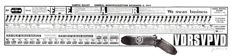 "General Municipal Election ballot (9"" x 35"") (24cm x 89cm) [Nova Broadcast Press, 1969]"