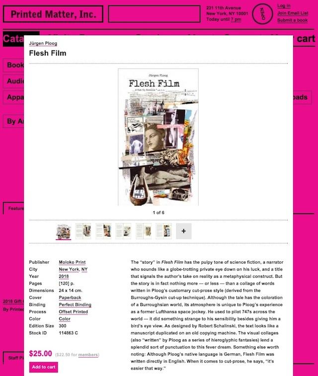 'Flesh Film' by Jürgen Ploog, published by Moloko, is available at printedmatter.org.