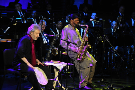 Adam Rudolph and 2010 NEA Jazz Master Yusef Lateef perform during the Awards Ceremony & Concert. Frank Stewart.jpg
