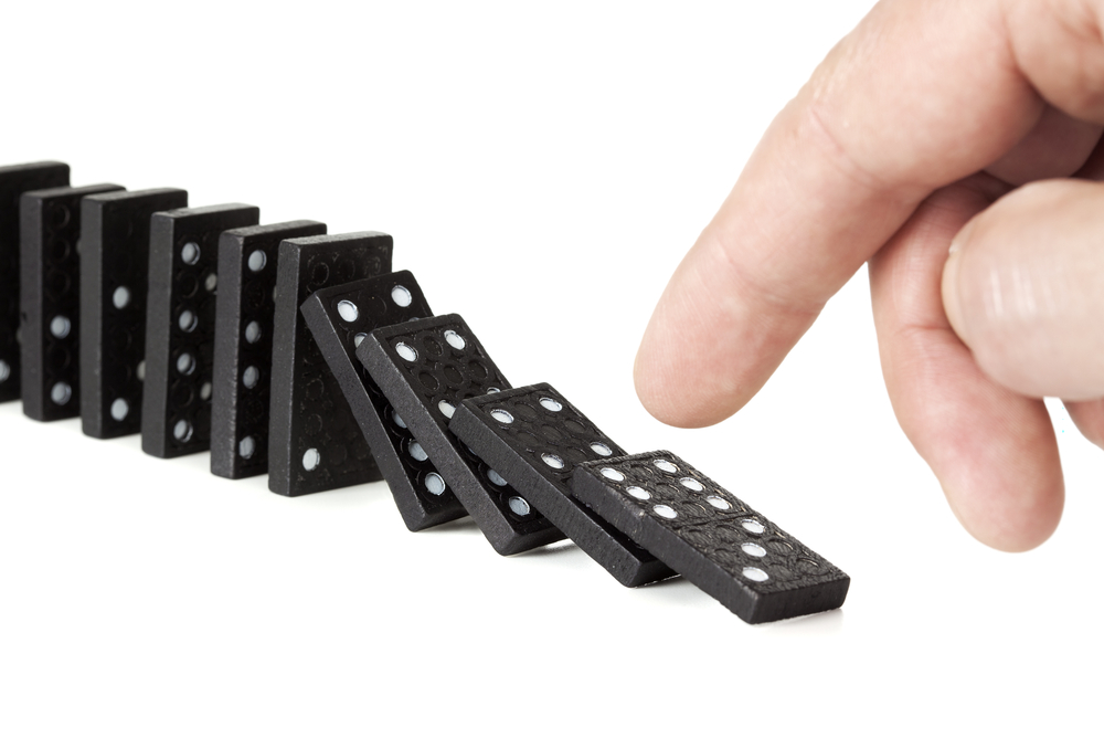 On tipping the dominoes then walking away …