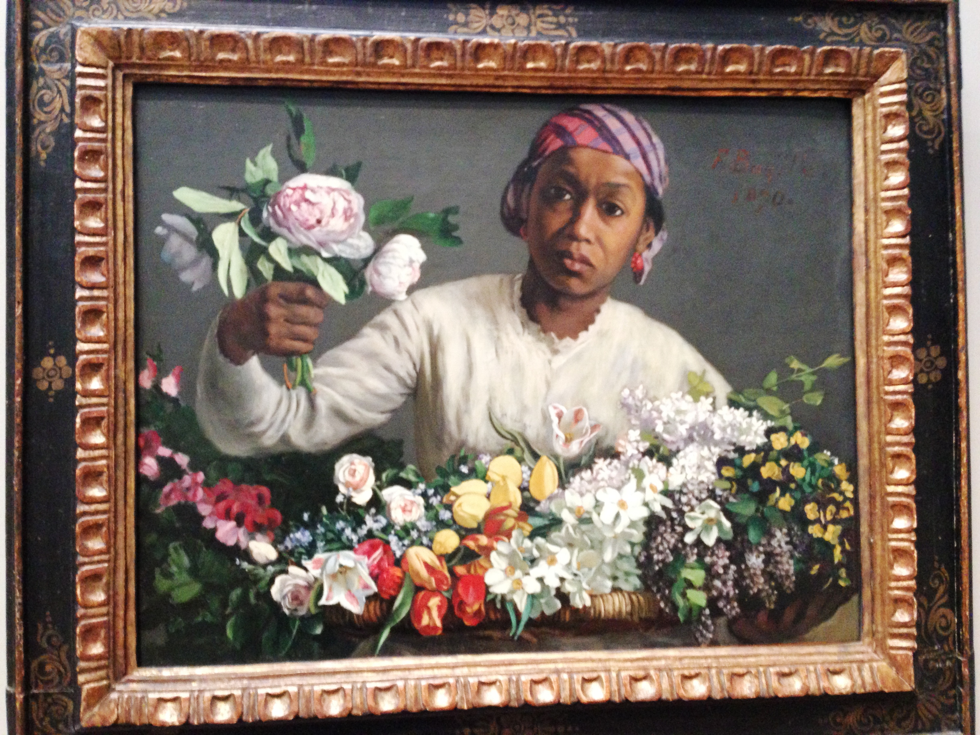"""Young Woman with Peonies"" by Frederic Bazille, 1870."