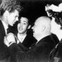 Van Cliburn being congratulated by Nikita Khrushchev at the Kremlin, April 1958. Between them is the interpreter Viktor Sukhodrev; at right is Jane Thompson, wife of the American ambassador.
