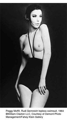 Peggy Moffitt, in Gernreich monokini, 1964. Copyright William Claxton LLC.jpg