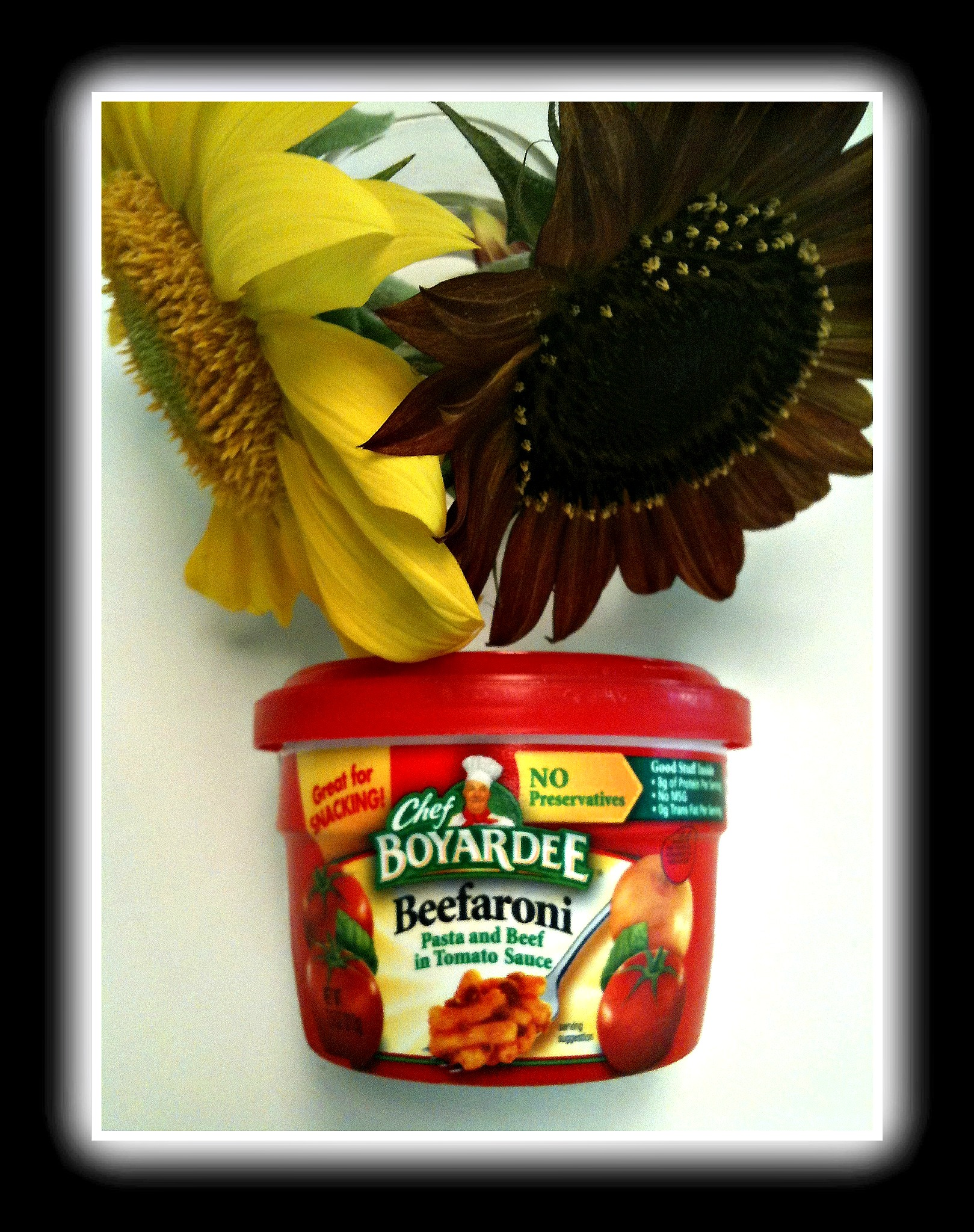Beefaroni and sunflowers