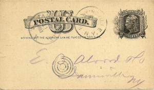 An early (1883) U.S. Postal Card, advertising only, one cent