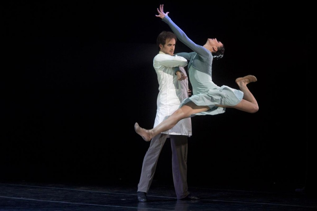 """Oleg Gabyshev and Lyubov Andreyeva of the Eifman Ballet perform in the west coast premiere of """"Up and Down"""" at the Segerstrom Center for the Arts. Photo by DREW A. KELLEY"""