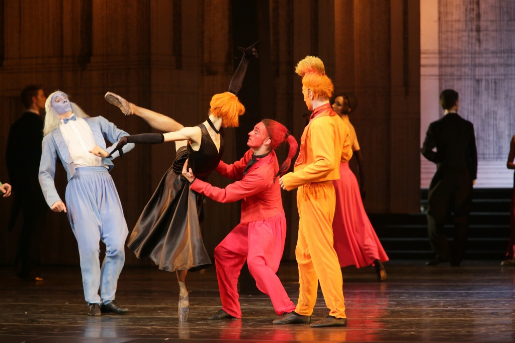 Cinderella's fairy helpers, the male Four Seasons, in formal attire for the ballroom scene with the evil Stepmother. Photo: N. Razina