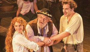 Jessie Buckley, Jimmy Yuill and-  Tom Bateman in The Winters Tale. Photo: Johan Persson