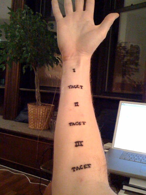 Composer Jim Altieri sends me a photo of his tattoo.