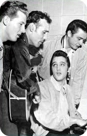 l to r Lewis, Perkins, Presley, Cash