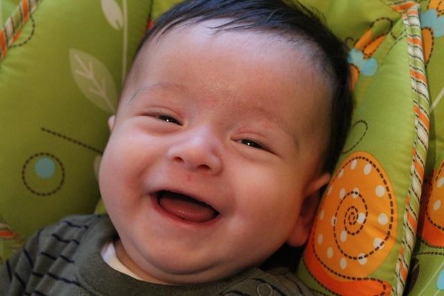 My son Rafa -- first smile on camera