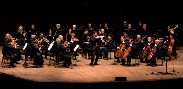 Musicians of the St Paul Chamber Orchestra on stage at Ordway Center