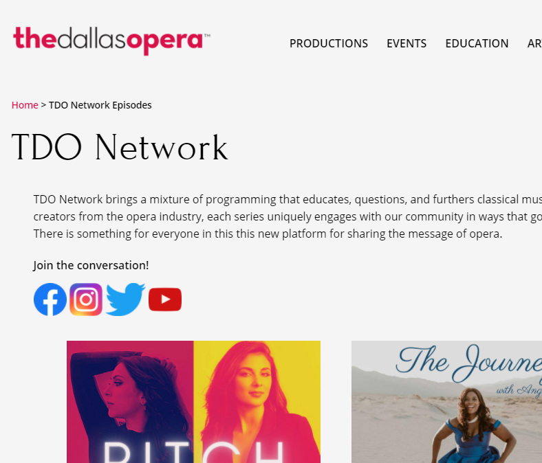 Screenshot of a portion of the front page of Dallas Opera's TDO Network